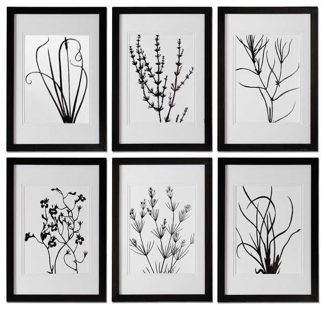 Black And White Contemporary Wall Decor : Sentialsinside black and white leaves wall art