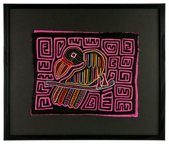 "Vintage Framed Panama Kuna Mola ""Pink Parrot"" Wall Art tropical-artwork"