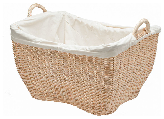 Wicker laundry basket with liner natural color contemporary baskets other metro by kouboo - Wicker beehive basket ...