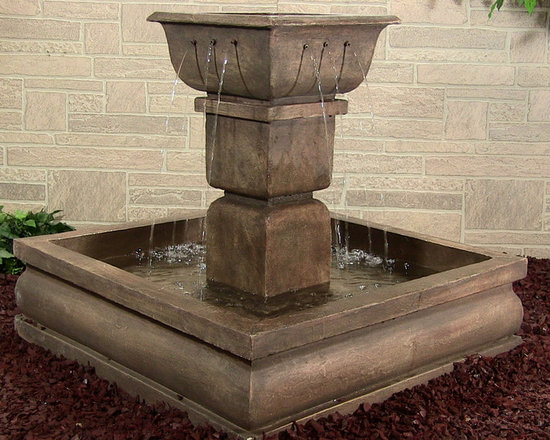 Outdoor Classics - Square Courtyard Fountain - Excellent choice for a large yard or courtyard.  Easily could be made into a centerpiece for the whole space.  Very easy to move and install as well.