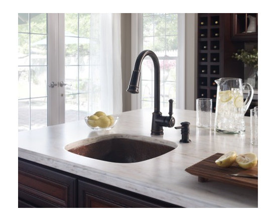 Moen Lindley Mediterranean bronze one-handle high arc pulldown kitchen faucet - Attention to detail is the perfect way to describe the Lindley™ collection. This collection embodies elaborate traditional designs intended to enhance the style and design of any home.