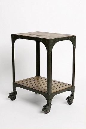 Industrial Rolling Side Table eclectic-side-tables-and-end-tables