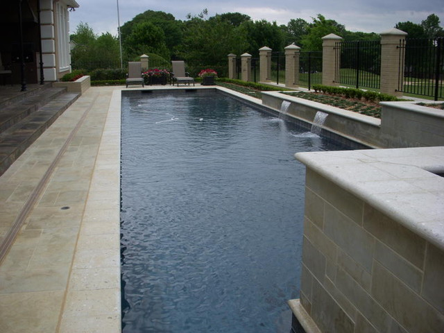 Lap Pool With Water Features Contemporary Dallas By