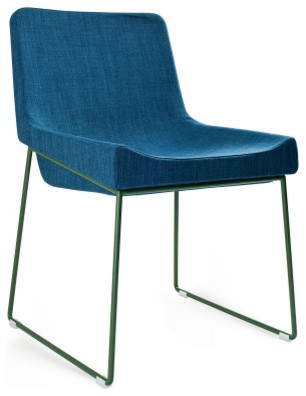 Irving Chair, Blue Fabric on Green modern-dining-chairs