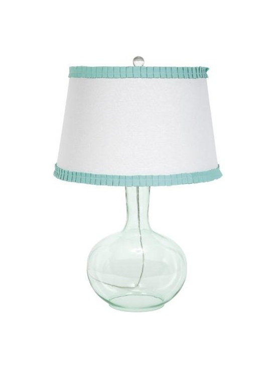 Belle & June - Clear Glass Lamp-Tuquoise Shade - With its clear turquoise glass round base and white shade with turquoise trim, this lamp is simple, yet very cute. Add to your kids bedroom or nursery to set the lighting in style.
