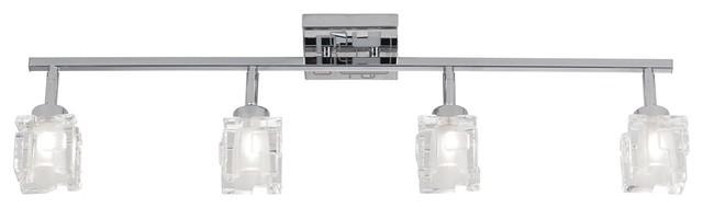 Transitional Polished Chrome 4-Light Geometric Glass Track Fixture contemporary-track-lighting