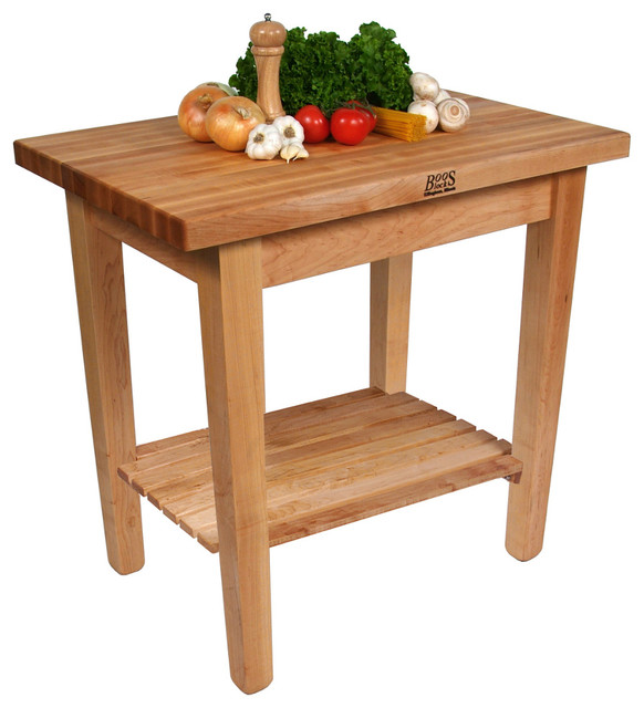 John boos c country work table with maple butcher block top contemporary kitchen islands - Butcher block kitchen work table ...