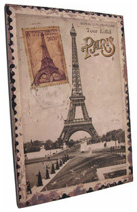 Vintage Eiffel Tower Postage Stamp Paris France Canvas contemporary-artwork
