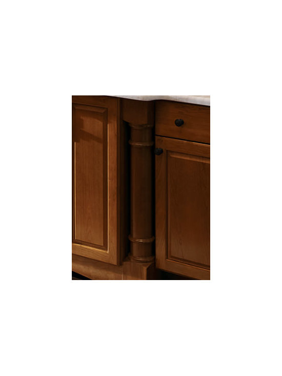 Roman Leg/Post Roman Spindle - The addition of a turned leg adds a decorative flair to base cabinets and lends a freestanding furniture look.