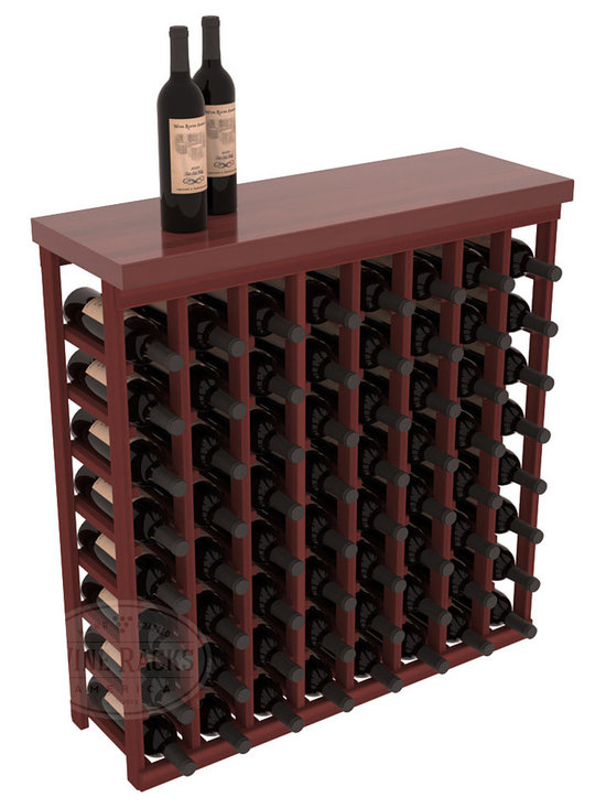 "Wine Racks America - Tasting Table Wine Rack Kit with Butcher Block Top in Redwood, Cherry Stain - The quintessential wine cellar bar; this wooden wine rack is a perfect way to create discrete wine storage in shallow areas. Includes a 35"" Butcher Block Top that helps you create an intimate tasting table. We build this rack to our industry leading standards and your satisfaction is guaranteed."