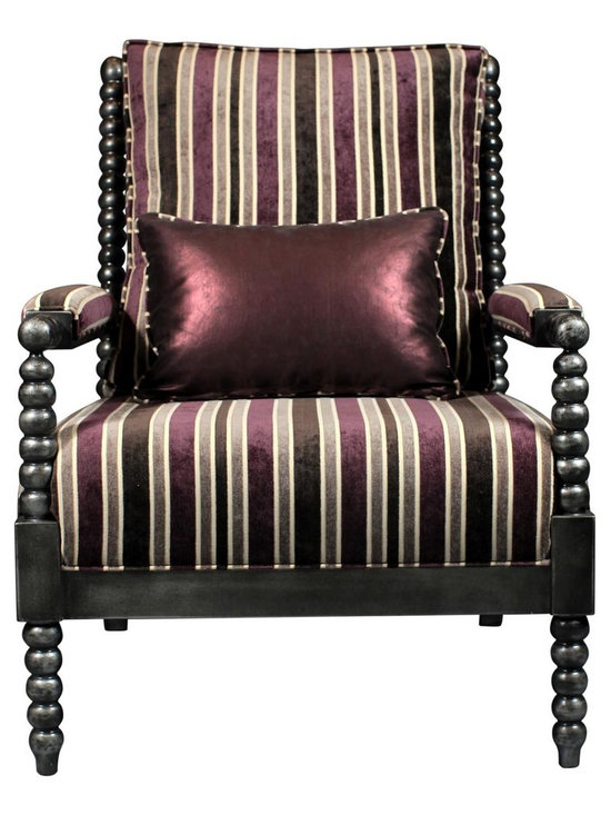 Madera Home - Benson Eggplant and Gray Striped Occasional Chair - This stunning spindle chair features a sumptuous striped velvet in eggplant and gray. The back cushion is reversible for flexibility, have the stripes face the front, or choose the more dramatic metallic purple. Cuddle up with a book and use it to warm up any space with some glamour!