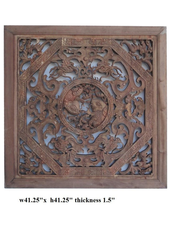 Antique Vintage Chinese Double Fishes Square Panel - This is an old panel restored from old house with natural wood finish and age patina. The carving is precise and meaningful. The center is round frame with double fishes then ancient dragons inside the octagon frame. The bat is placed at the corner. It is a decent piece for home enrichment or for business decor.