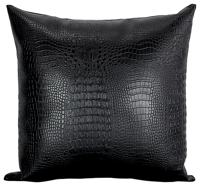 Throw Pillows Faux Leather : Croc Faux-Leather Decorative Throw Pillow, Black - Modern - Decorative Pillows - by Bijou Coverings