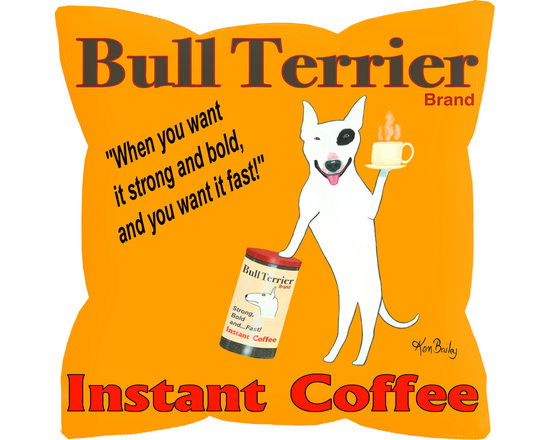 """Bull Terrier Instant Coffee Pillow - Bull Terrier Instant Coffee is an 18"""" x 18"""" pillow with concealed zipper and includes a feather & down insert (95/5). Our pillows are 100% eco friendly material and are printed with non toxic, non fading dyes. Front 100% polyester from recycled plastic bottles. Back is 65% polyester from recycled plastic bottles; 35% organic cotton. Artwork by Ken Bailey and made in USA. Much of Ken's work can be seen on the sets of numerous television shows."""