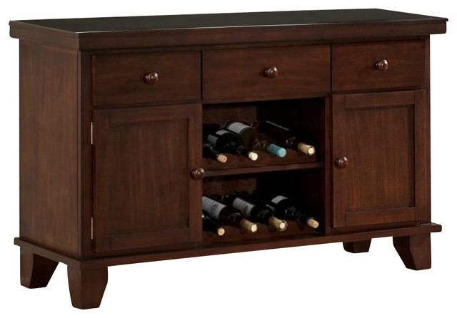 Homelegance Ameillia 52 Inch Server with 2 Wine Racks in Dark Oak - Traditional - Buffets And ...