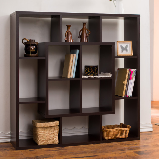 Furniture of america aydan modern square walnut bookshelf room divider contemporary screens - Bookshelves as room divider ...
