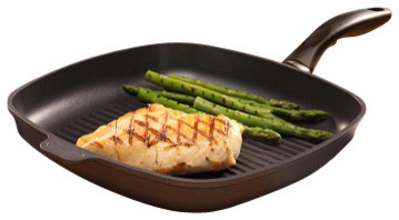 "Induction Nonstick Square Grill Pan - 11 x 11"" transitional-cookware"