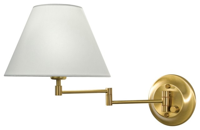 Holtkoetter Antique Brass White Shade Swing Arm Wall Lamp - Contemporary - Wall Lighting