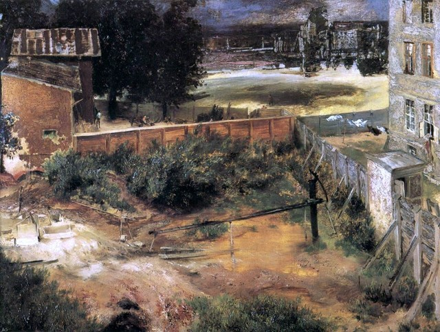 """Adolph Von Menzel Rear of House and Backyard - 18"""" x 24"""" Premium Archival Print traditional-artwork"""