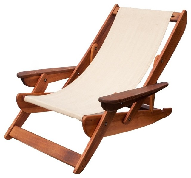 Salvage Cedar Sling Back Chairs Beach Style Outdoor Lounge Chairs vanco