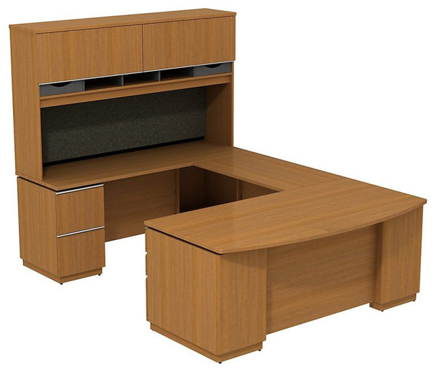 "Bush Milano 2 72"" Left-Hand U-Shape Desk with Hutch in Golden Anigre transitional-home-office-accessories"
