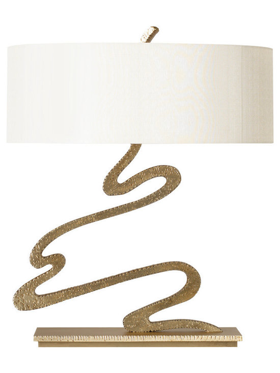 Signature Table Lamp - Baker Furniture - This design was inspired by the colorful movement of a personal signature. While custom cast brass captures that sense of artistic whimsy, the texture offers a rugged hammered and rasped look. The latter reminds us of the subtle variation expected of all things touched by the hand of man. This is functional art.