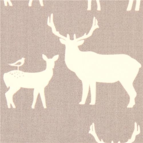 Grey Deer Stag Animal Organic Fabric By Birch Usa Fabric
