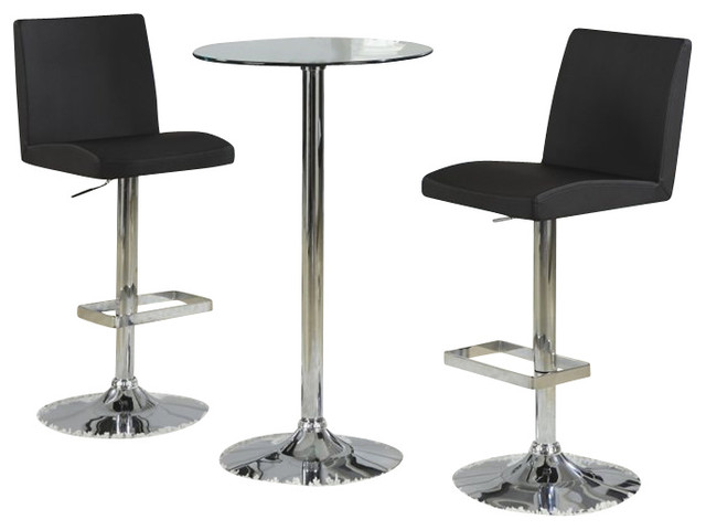 Coaster Table with Tempered Glass Top 3 Piece Pub Set  : transitional dining sets from houzz.com size 640 x 480 jpeg 36kB