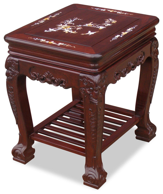 Rosewood Imperial Lamp Table with Pearl Inlay Design asian-side-tables-and-end-tables
