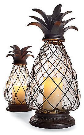 Pineapple Hurricane Lantern tropical-candleholders