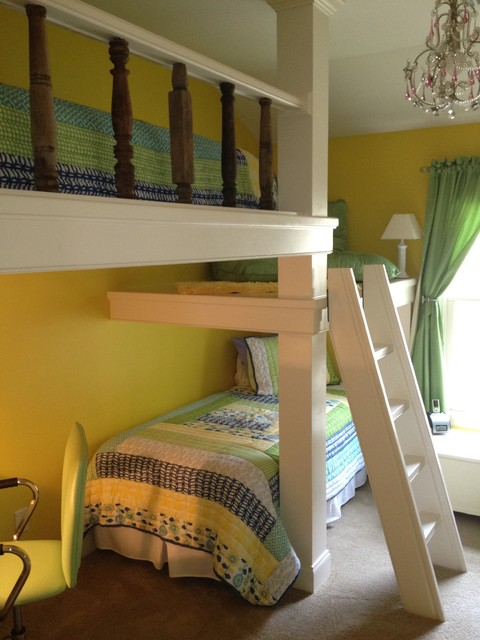 Built In Bunk Beds And Desk For A Child Contemporary