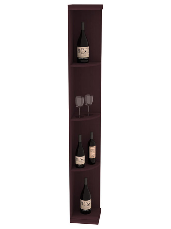 Quarter Round Wine Display in Redwood with Burgundy Stain - Highly decorative Quarter Round Wine Displays are the perfect solution to racking around corners. Designed with a priority on functionality, these wine storage units are excellent as end caps to walls of wine racking or as standalone shelving.