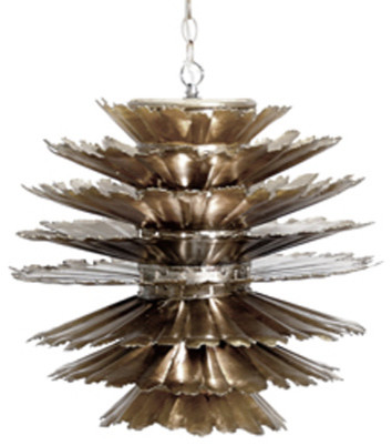 Worlds Away Dante Silver leafed Pendant midcentury-chandeliers