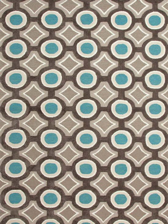 Jaipur Rugs - Modern Geometric Pattern Blue Polyester Tufted Rug - BR30, 5x7.6 - A youthful spirit enlivens Esprit, a collection of contemporary rugs with joie de vivre! Punctuated by bold color and large-scale designs, this playful range packs a powerful design punch at a reasonable price.