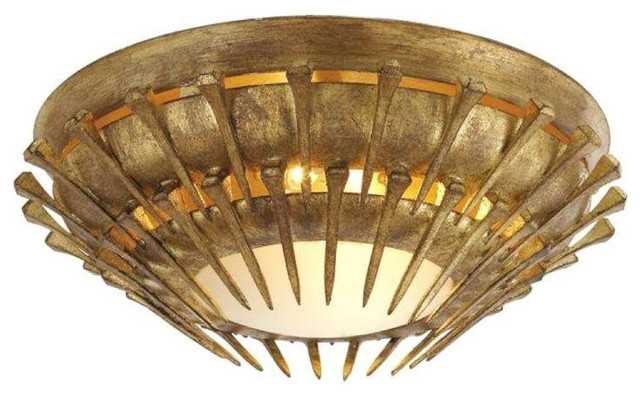 John Rosselli Lawrence Flush Mount in Gold Leaf - $420 Est. Retail - $375 on Cha contemporary-flush-mount-ceiling-lighting