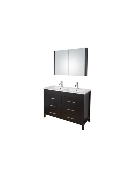 "Vigo Industries - VIGO 48"" Maxine Double Bathroom Vanity with Medicine Cabinet - Espresso - Elegance is at your fingertips with this beautiful VIGO bathroom vanity. No other brand can match VIGO's style, quality and design. This 48-inch freestanding double vanity features six soft closing drawers with sleek horizontal chrome finished handles The VIGO Maxine collection is a modern and assertive addition to any bathroom. Features Cabinet is constructed of engineered wood with wood veneers, in an Espresso Black Matte finish, consisting of an anti-scratch surface for enhanced durability. Interior features a pull out drawer plus storage shelf Contains one white ceramic countertop featuring two fully integrated sinks with two single holes for easy faucet installation Includes a medicine cabinet with mirror in matching Espresso Black Matte finish with adjustable interior glass shelves Includes solid brass, chrome-plated drain assembly All mounting hardware included Vanity is fabricated for freestanding installation This cabinet is shipped assembled 5 Year Limited Warranty Faucet NOT included How to handle your counterView Spec Sheet"