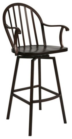 Pastel 30 In Windsor Swivel Bar Stool With Arms Autumn