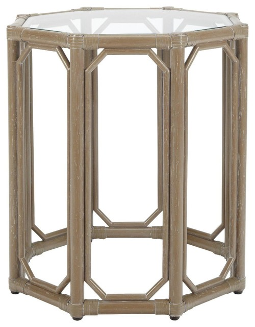 Selamat Regeant Octagon End Table with Glass-Porcini traditional-side-tables-and-end-tables