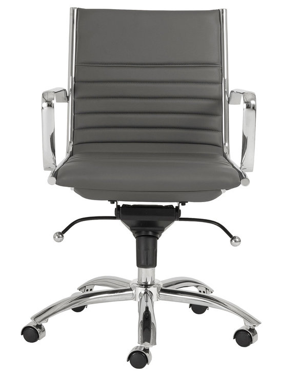 Eurostyle - Dirk Low Back Office Chair-Gry/Chrm - Leatherette over foam seat and back