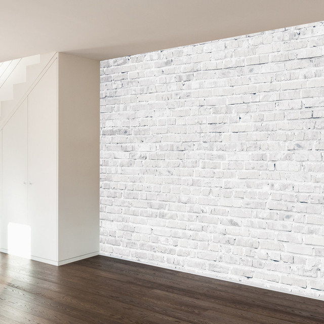 White washed brick wall mural decal contemporary wall for Brick wall decal mural