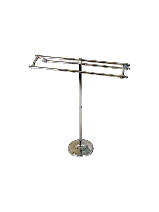 DecorSuite - Pedestal Round Plate Towel Rack, Polished Chrome - Built on a sturdy round plate base, this Pedestal Towel Rack is a great way to easily access your towels. Constructed from solid steel this towel rack is rust-resistant and built to last. With multiple towel rods, hanging both hand and bath towels is not a problem. Installation requires no tools and can be done easily and quickly.