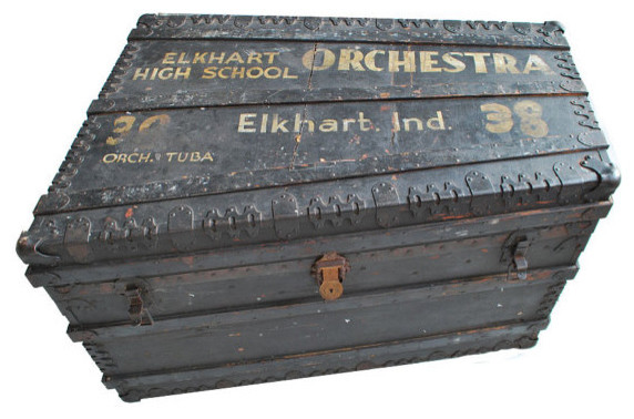 Antique Tuba Case/Orchestra Trunk by Midmodern Goods - Eclectic - Decorative Trunks - by Etsy