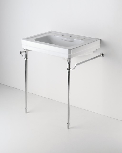 Metal Round Two Leg Single Washstand - traditional - bathroom ...