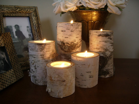 Birch Bark Log Candleholders By Michigan Wood Crafts