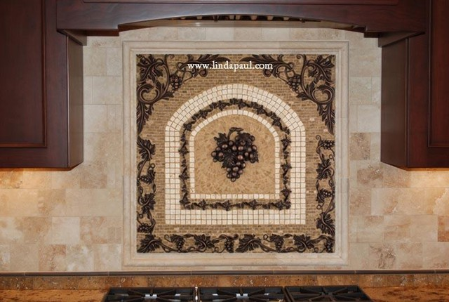 Mosaic Tile Medallion backsplash with grapes - Linda Paul Studio mediterranean kitchen tile