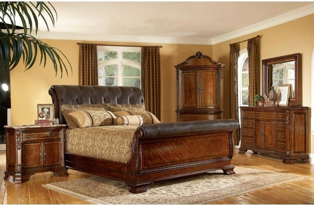 ART Furniture 5 Piece Old World Leather King Size Sleigh Bedroom Set