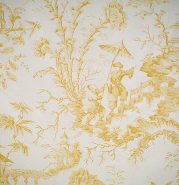 Pillement Toile Hand Printed Fabric Yellow Traditional