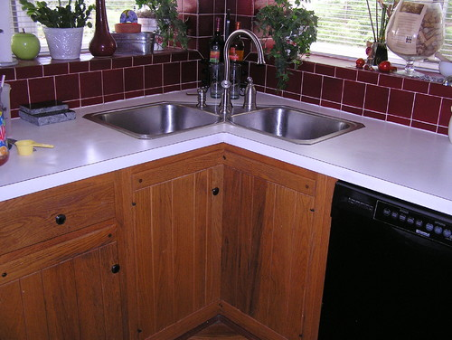 Sink Installed At An Angle Kitchen