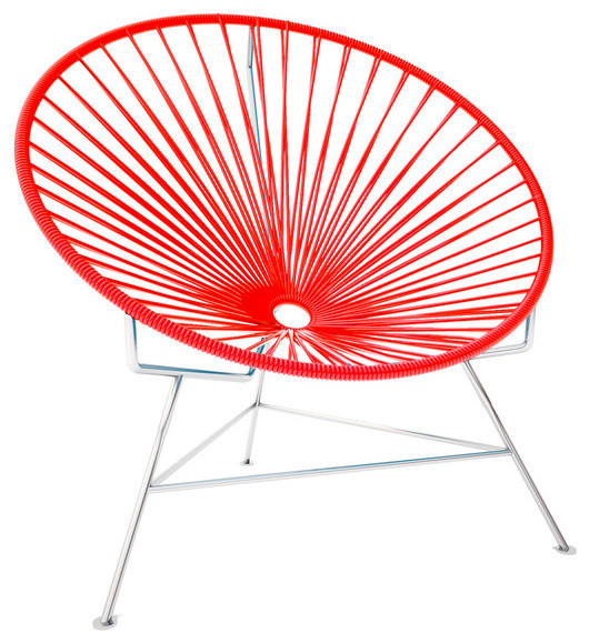 Innit Chair, Chrome Frame, Red modern-outdoor-lounge-chairs