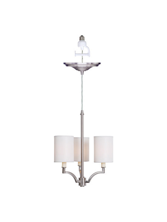 Small Screw-In Brushed Nickel 3-Light Chandelier - Easily Update Your Lighting With Our Brushed Nickel Chandelier—So Easy, Just Screw It In!
